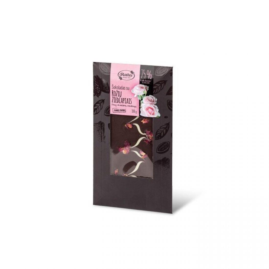 Šokoladas 75% su rožių žiedlapiais 100 g